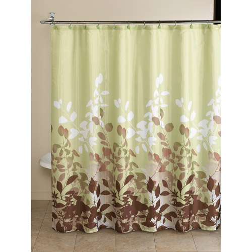 Walmart Shower Curtains Mainstays Green Botanical