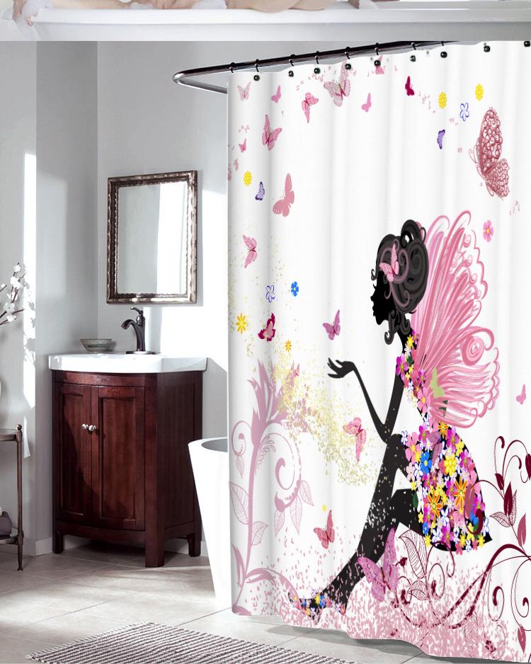 Girl Bathroom Shower Curtain 1