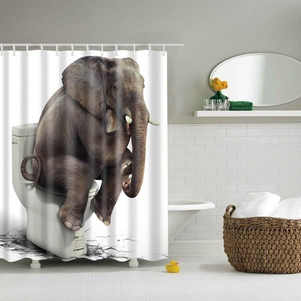 Elephant 3D Water Shower Curtain For Home Decoration Bathroom