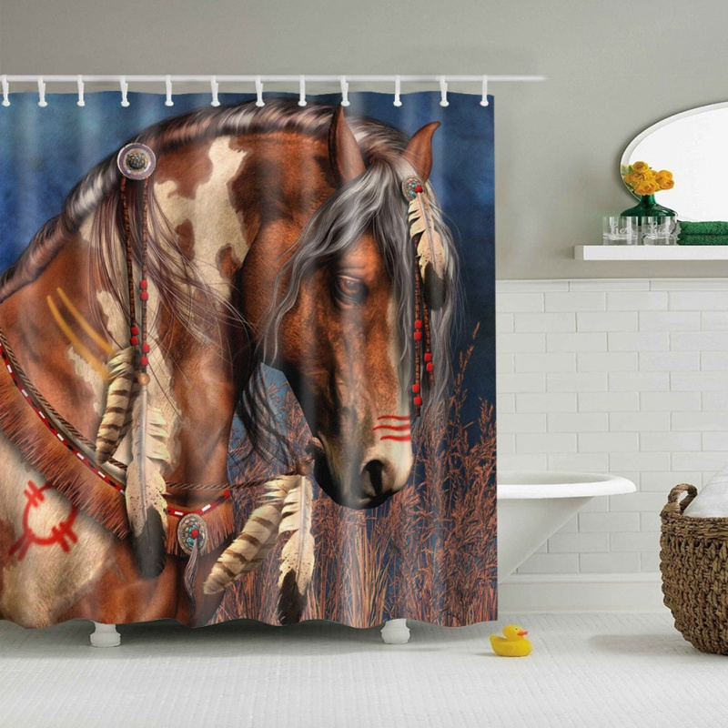 New Version A Horse 3D HD Digital Printed Shower Curtains Waterproof