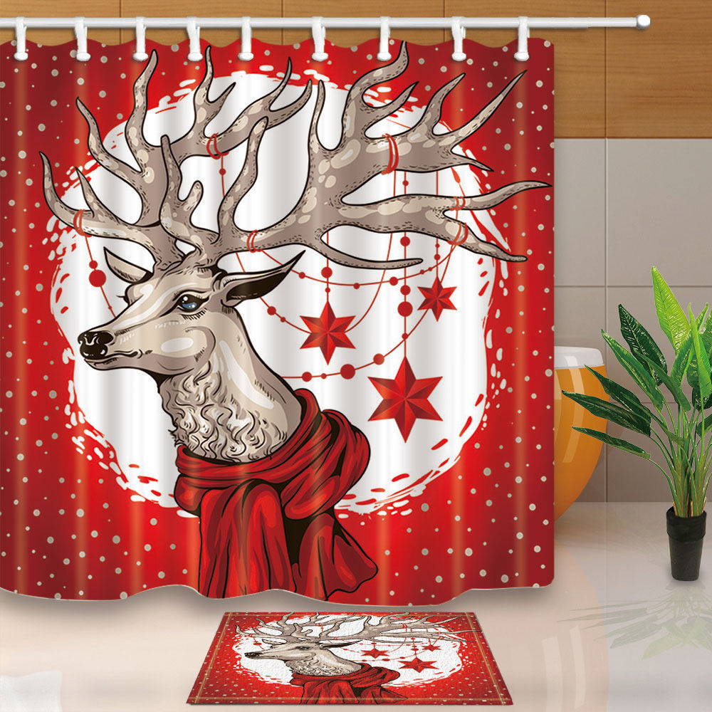 Christmas Tree Shp: Christmas Shower Curtain Deer Head With Red Scarf