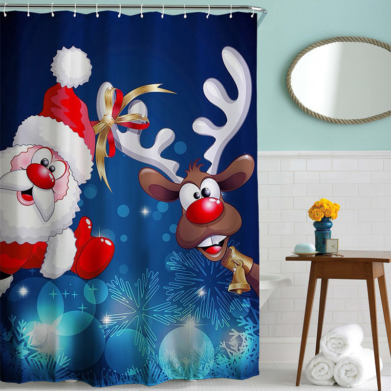 Christmas Shower Curtain Santa Claus Reindeer Funny Bath