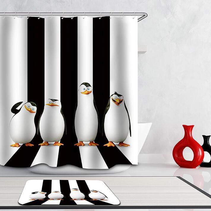 Shower Curtains Funny Penguins Walking