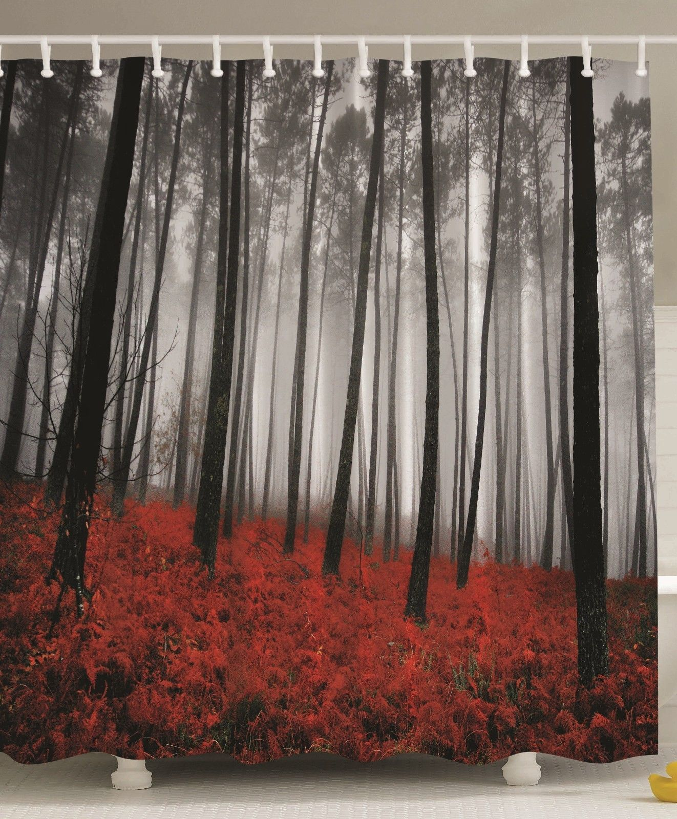 Unique Shower Curtains Forest Tree Gray And Red Bath