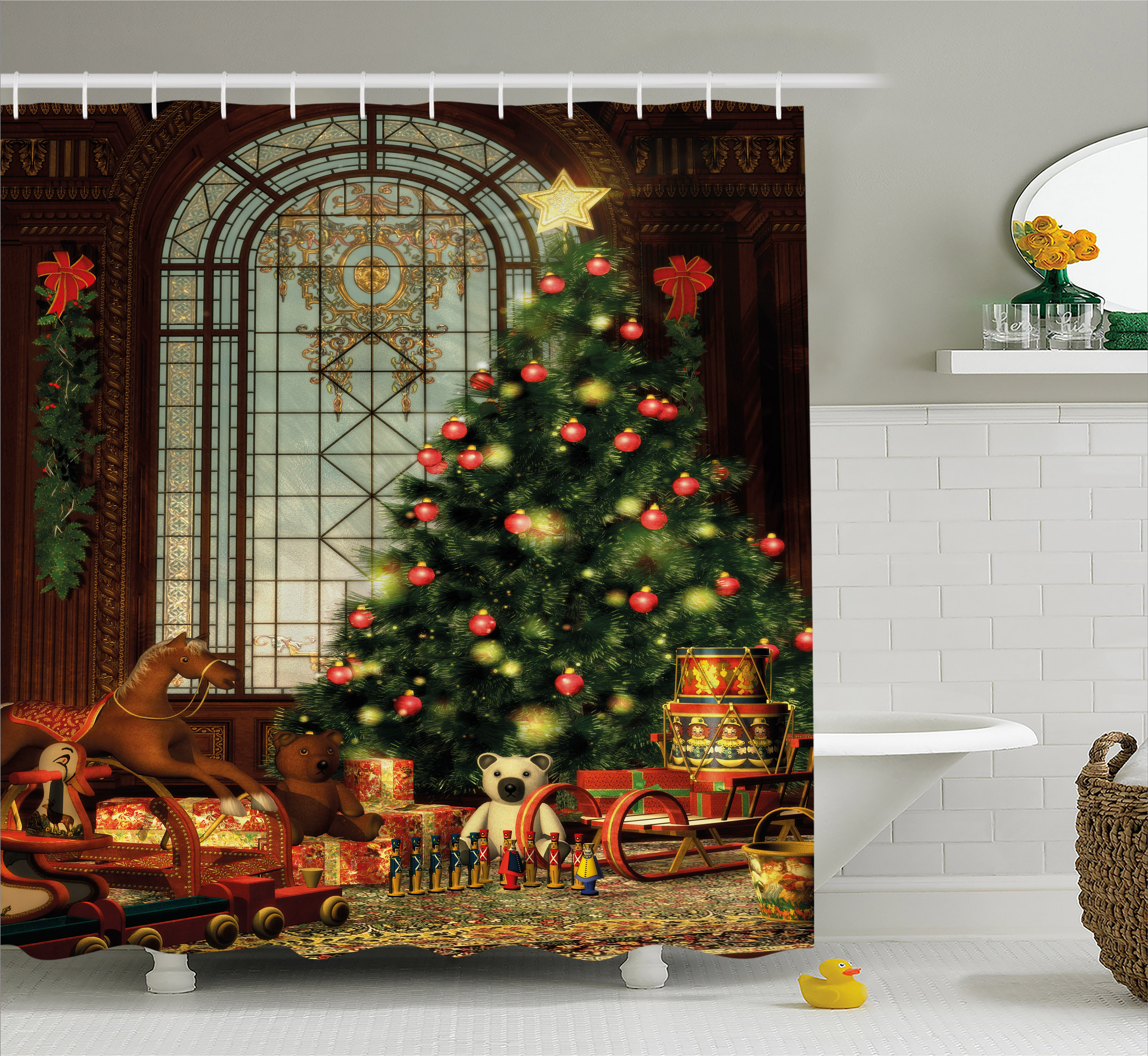 Christmas Shower Curtain.Christmas Shower Curtain Tree Old Fashioned Window Presents Various