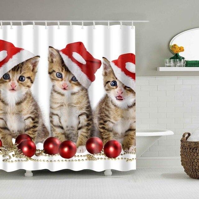 Christmas Shower Curtain.Christmas Shower Curtain Cat Red Hat
