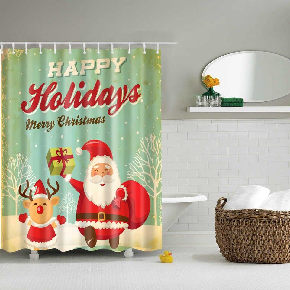Christmas Shower Curtain.Christmas Shower Curtain Family Snowman Happy Holidays