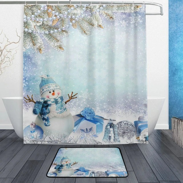 Christmas Shower Curtain.Christmas Shower Curtain Snowman Blue Scarf And Hat