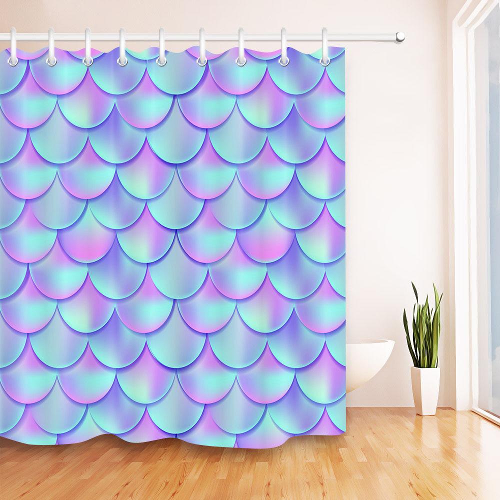 Cheap Custom Shower Curtains Holographic Mermaid