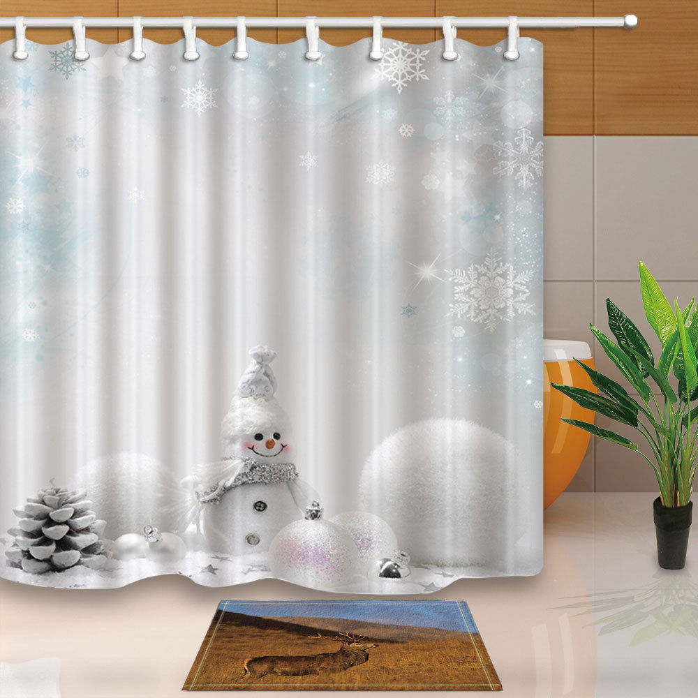 Christmas Shower Curtain Snowflake Snowman Balls Bath