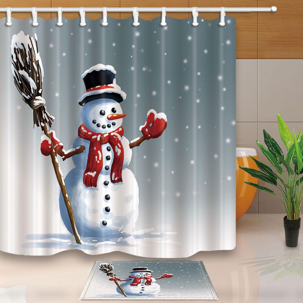 Christmas Shower Curtain Snowman Broom With Hat Bath