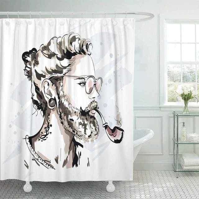 cool shower curtains Man with Beard and Pipe | bath supplies.store