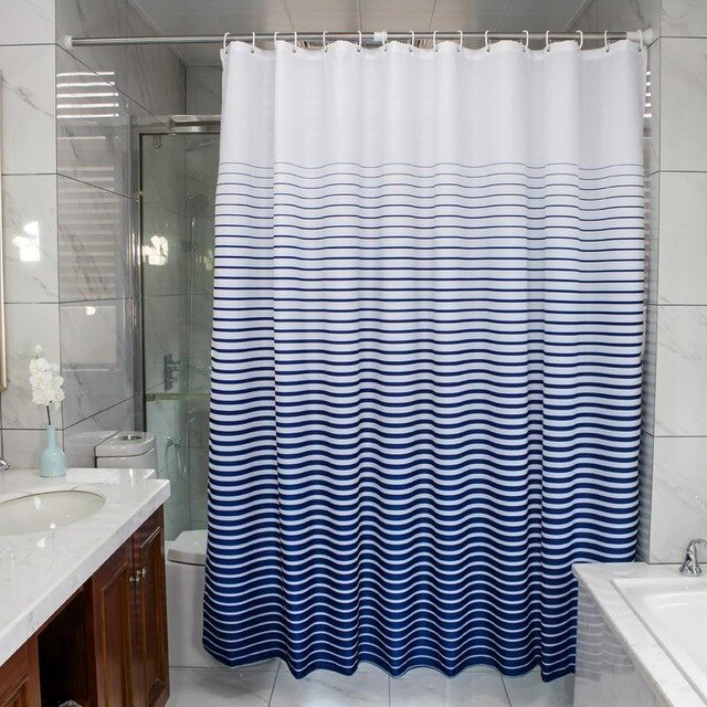 Custom Made Shower Curtains.Custom Shower Curtains Dusty Striped Blue