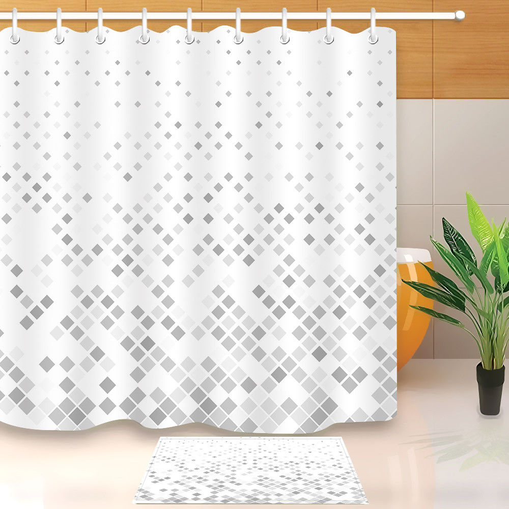 Custom Printed Shower Curtains Simple Grey