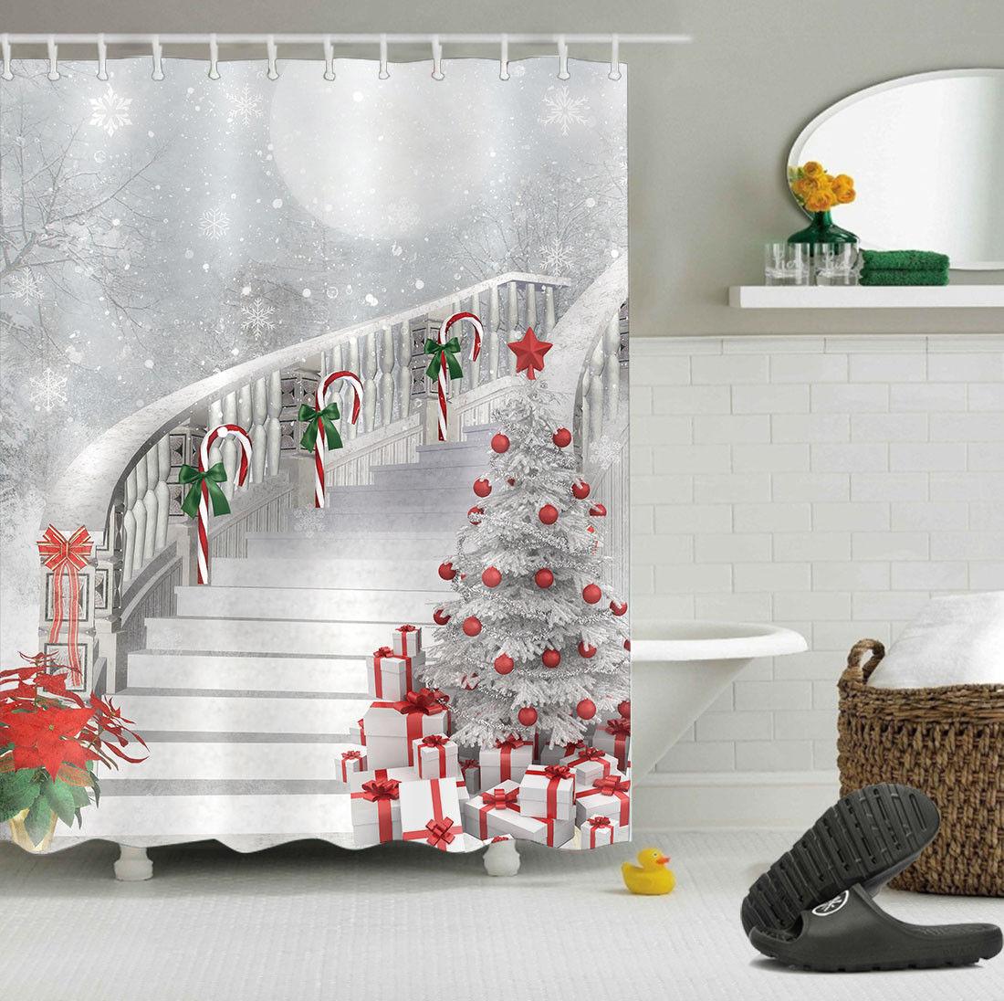 Christmas Shower Curtain.Christmas Shower Curtain Stair Stairs Snow