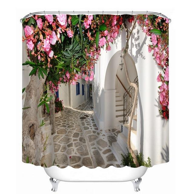 Fabric Shower Curtains Amazon Flower Landscape