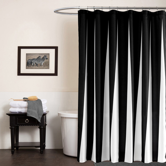 Fabric Shower Curtains With Valances Black White