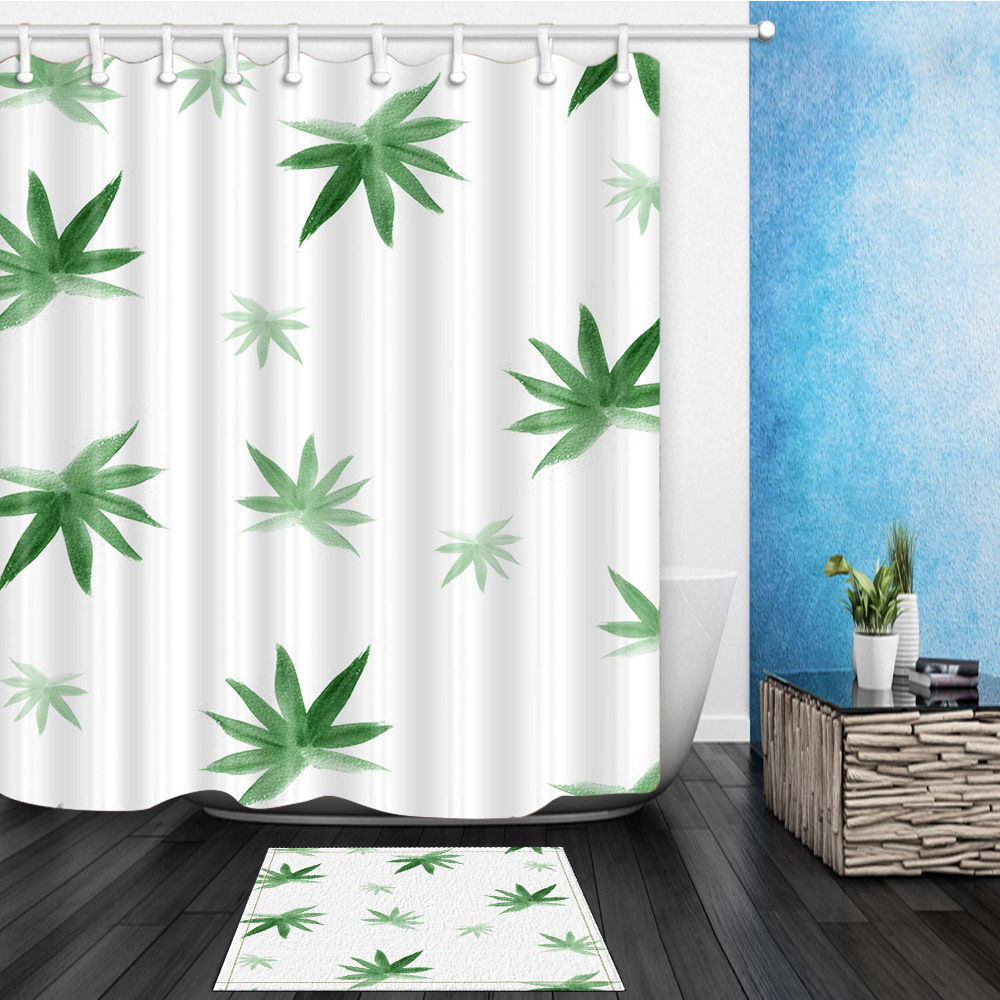 Unique Cloth Shower Curtains Mat Bamboo Leaves