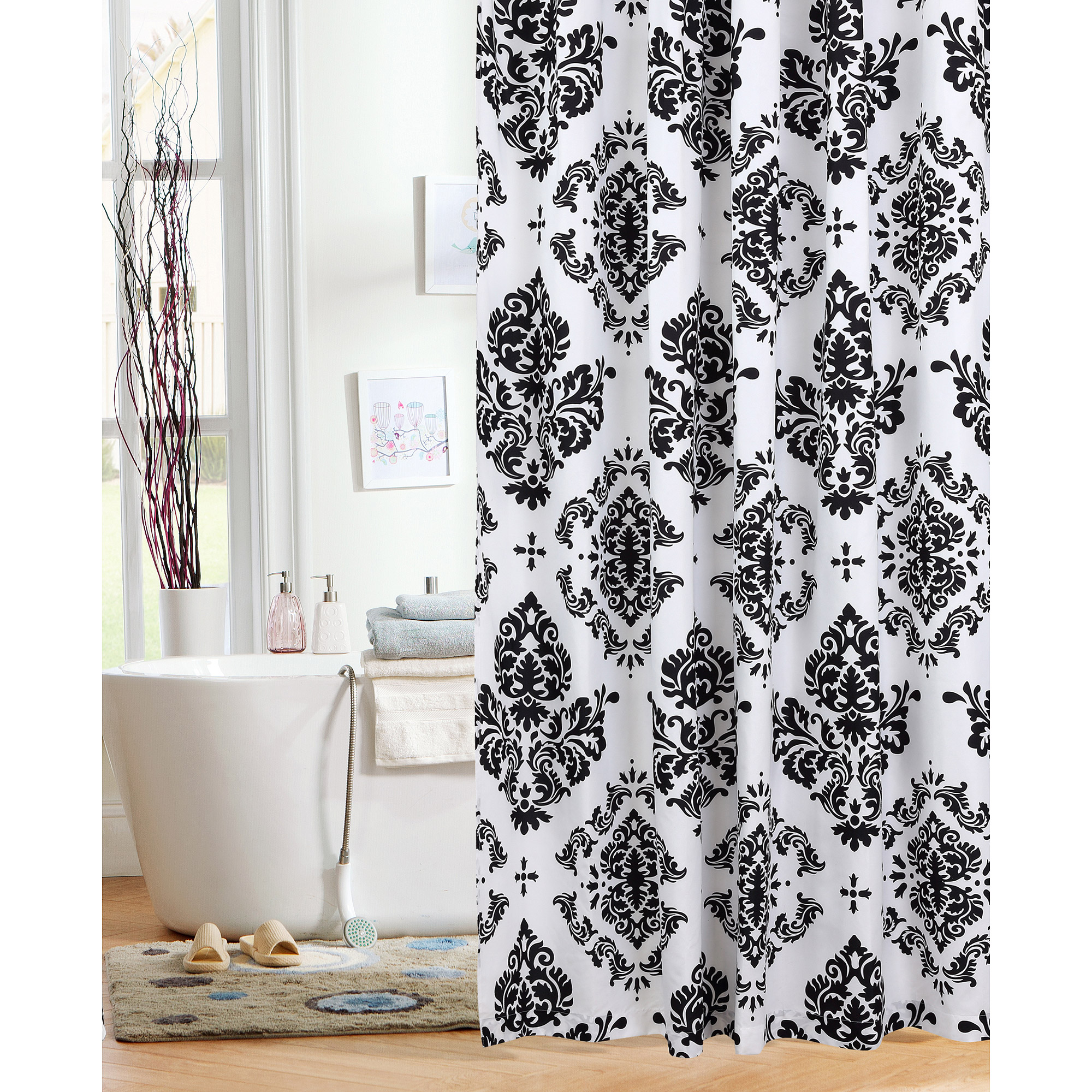 Walmart Shower Curtains Mainstays Classic Noir