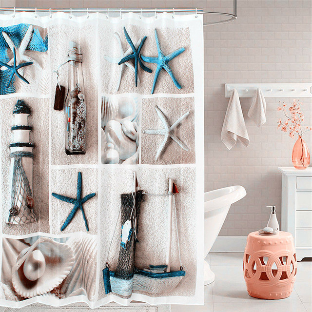 Fabric Polyester Blue Sea Life Shower Curtain Thicken