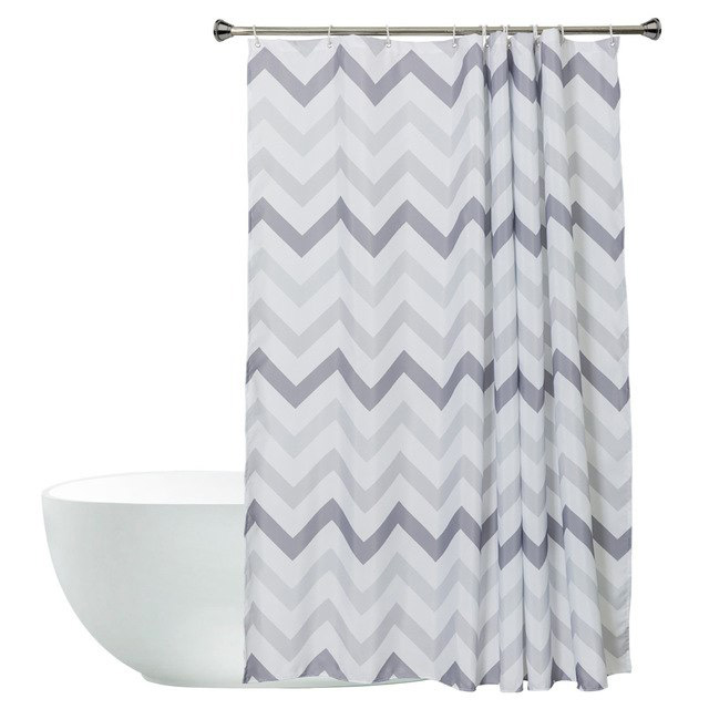Striped White And Black Bathroom Shower Curtains