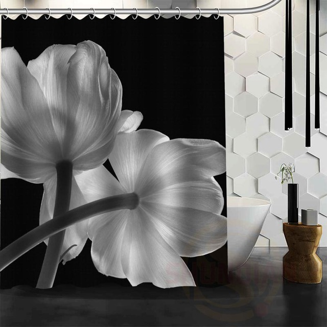 Custom Black And White Flowers Shower Curtain