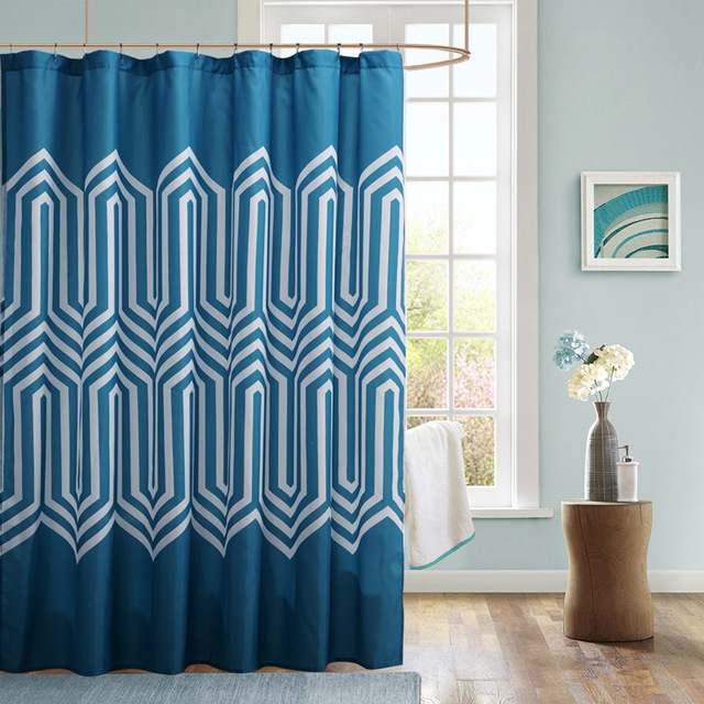 Blue Polyester Fabric Shower Curtains Printed