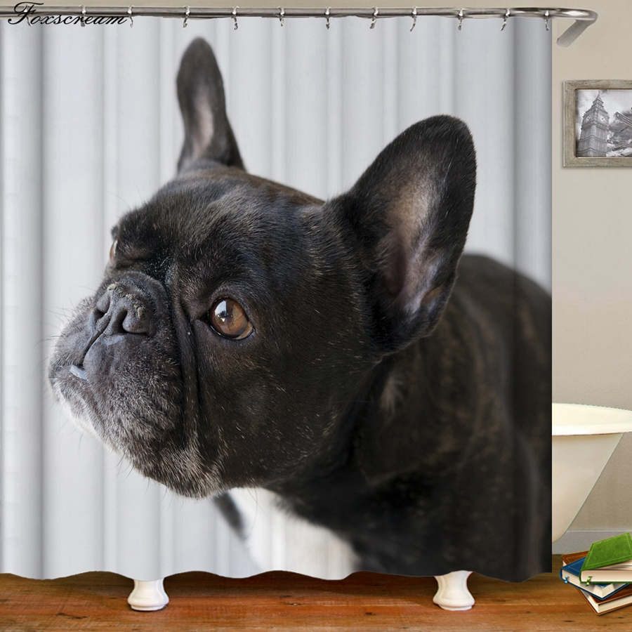 Shower Curtains Funny Dog Puppy Cute Bath Supplies Store
