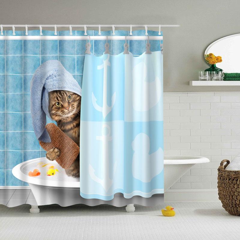 Shower Curtains Funny Cat Kitten Taking A Bath Bath