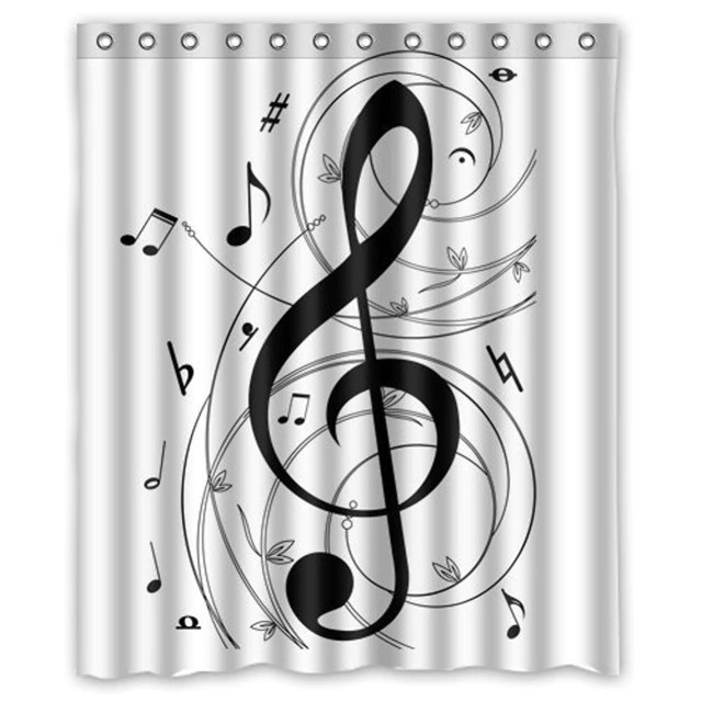 Black And White Shower Curtain Music Notes Pattern
